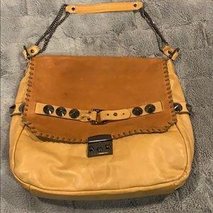 BE & D Leather Studded Hobo Shoulder Bag